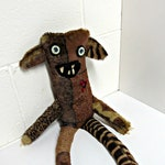 Monster Plush Doll, Monster Plush, Art Doll, OOAK Collectible Toy, Designer Toy, Faux Fur Weird Cute Plush Monster, Strange Monster Plush