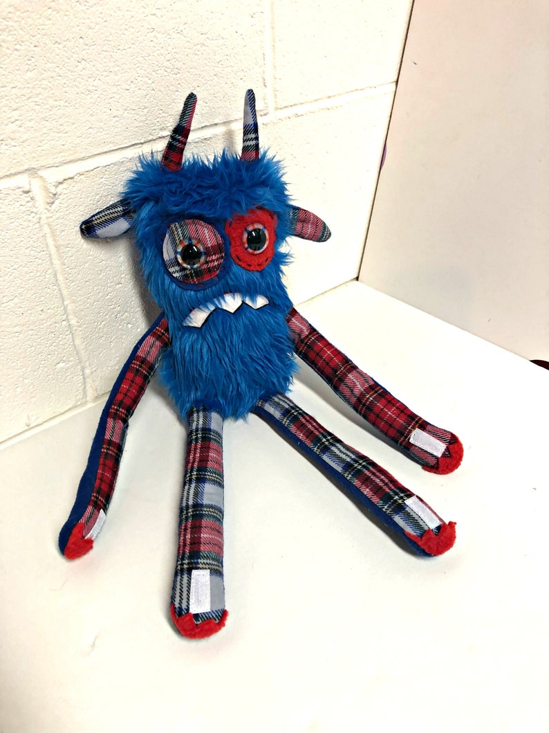 Nervous Monster Plush  Handmade Grumpy Monster  Blue Faux image 0