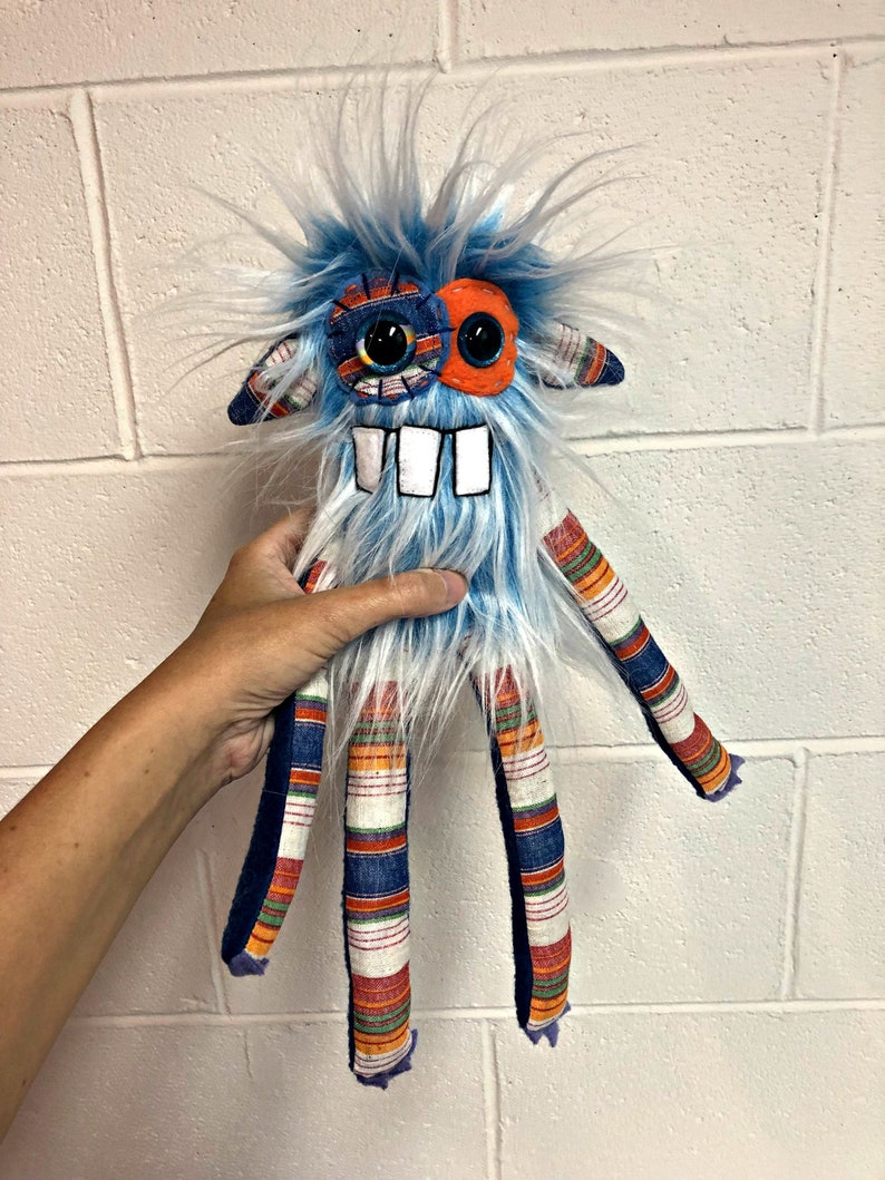 Monster Plush  Handmade Minor Monster Plushie  Light Blue Tall