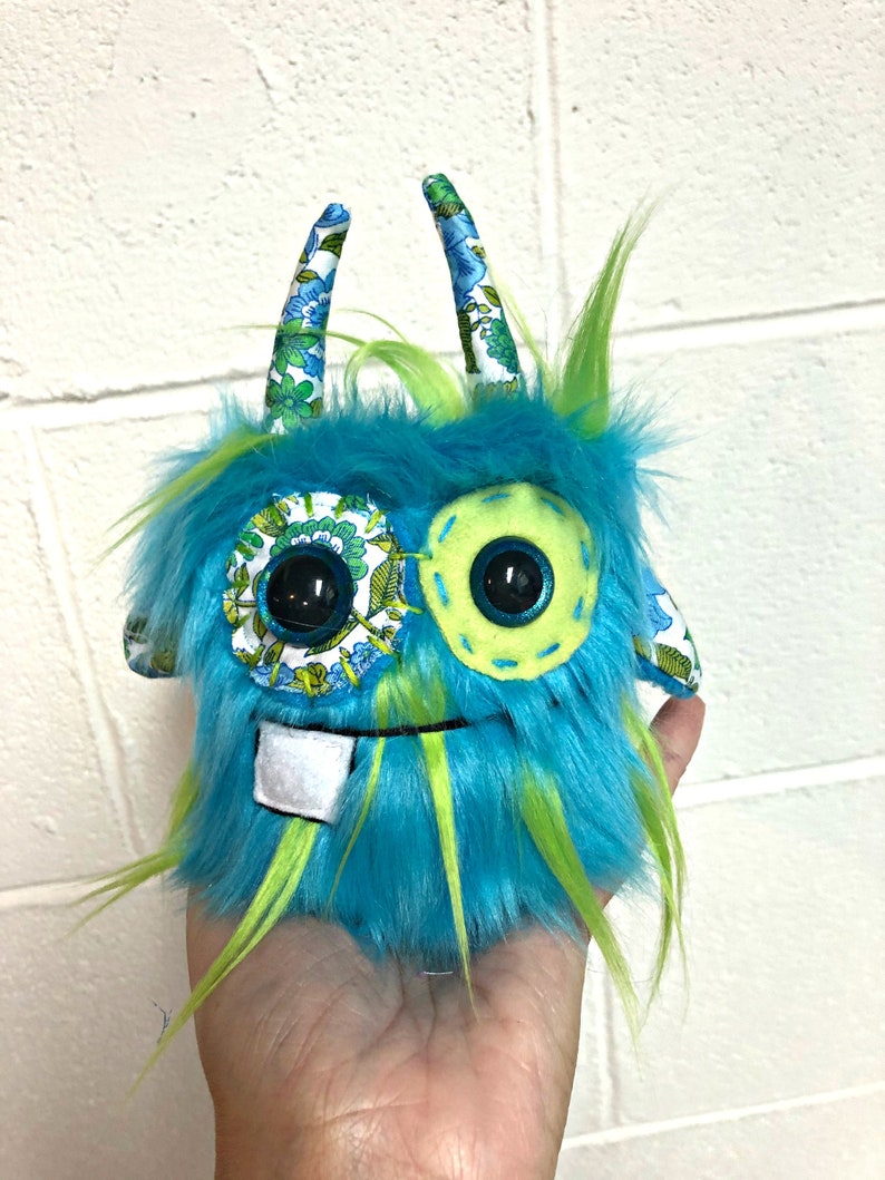 Small Monster Plush  Handmade Minor Monster Plushie   Faux Turquoise/Lime
