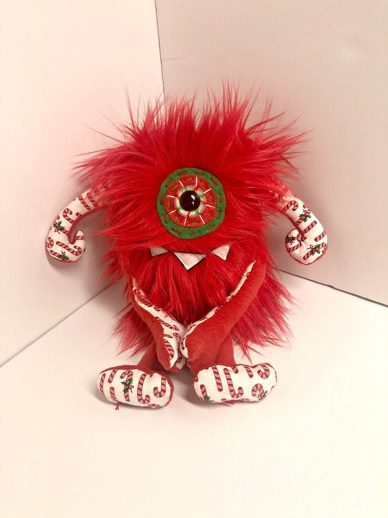 Holiday Cyclops Monster Plush  Handmade Plush Cyclops  Hand image 0