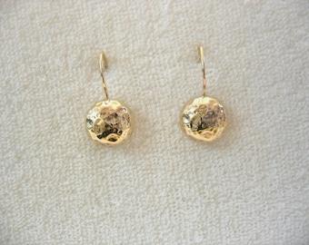 The Sunshine - hammered gold earrings