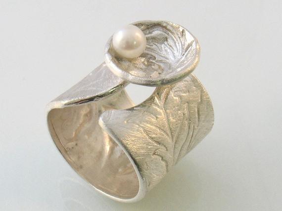 Anillos Plata Esterlina Y De Madre Perla Nautilus forma de concha Ajustable Anillo