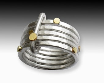 Five of a Kind Ring - hammered silver rings with gold, stacking together.