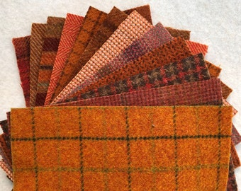 """Orange Applique Pack, Felted Wool Fabric, 12 pieces of Wool, 5"""" x 7"""""""