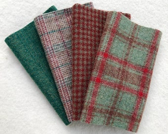 Felted Wool Fabric, Winterberry, 4 pieces in Vintage Red and Green,  Perfect for Rug Hooking, Applique' and Crafts