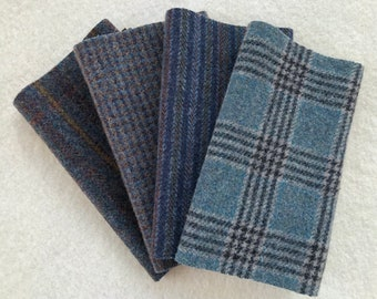 Felted Wool Fabric, HARBOR, Blue and Gray Textures, 4 pieces Perfect for Rug Hooking, Applique' and Crafts
