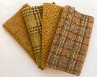 Felted Wool Fabric, Butterscotch, 4 pieces in Gold and Tan, Perfect for Rug Hooking, Applique' and Crafts