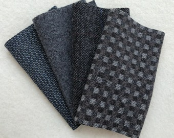 """Felted Wool Fabric, GRAPHITE, Dark Gray Textures, Four 6.5"""" x 16"""" pieces for Rug Hooking, Applique and Crafts"""