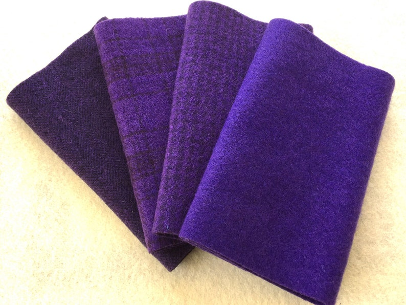 Four 6.5 x 16 pieces in Deep Royal Purple PANSY Hand Dyed Felted Wool