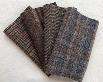 """Felted Wool Fabric, DRIFTWOOD, Gray-Brown Textures, Four 6.5"""" x 16"""" pieces for Rug Hooking, Applique and Crafts"""
