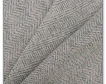 Gray Herringbone Wool Fabric, One Quarter Yard of Felted Wool Flannel