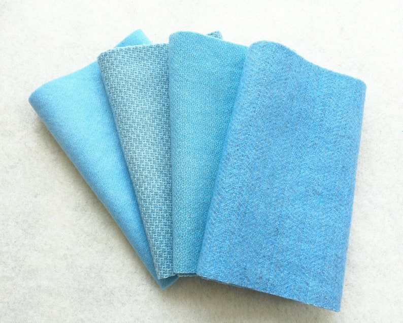 Hand Dyed Felted Wool Four 6.5 x 16 pieces in Soft Pastel Blue Applique/' and Crafting Perfect for Rug Hooking SKY BLUE