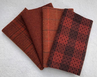 Felted Wool Fabric, RED ROOSTER, 4 pieces in Rust, Perfect for Rug Hooking, Applique' and Crafts