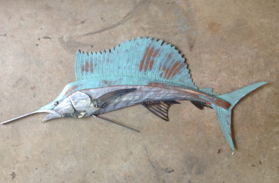 Sailfish Metal Wall Art Fish sculpture 48in  Beach Coastal Tropical Ocean