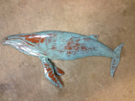 Humpback Whale Metal Wall Sculpture 30in long Tropical  Coastal Beach  Art Fish