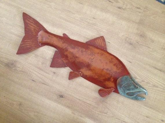 Sockeye Salmon 30in Metal Fish Wall Art  SHIPPING FREE in the US