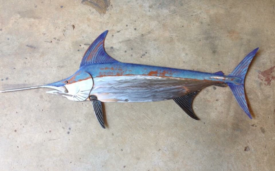 Sword Fish 48in Metal Wall Art Fish sculpture Handmade Beach Coastal ...