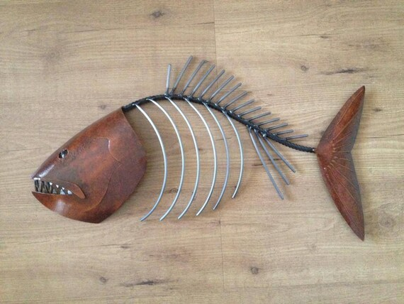 Fish Sculpture 24in Tropical Coastal Beach  Metal  Wall Art Fish