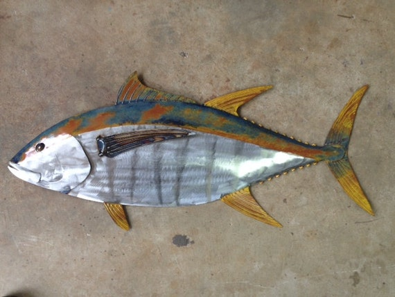 Yellow Fin Tuna Fish 36in Handmade Metal Wall Art Sculpture Tropical Beach Coastal