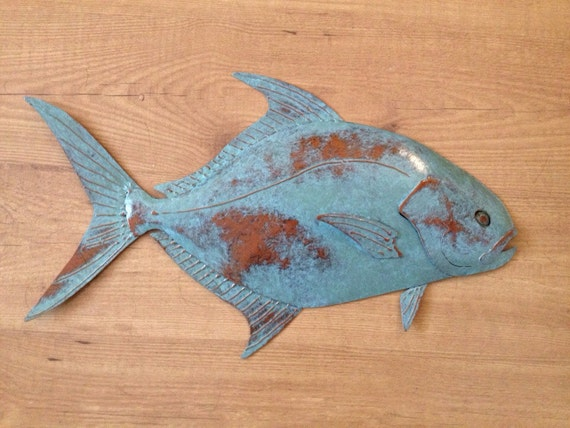 Pompano 24in Metal Wall Fish Sculpture  FREE SHIPPING in the US