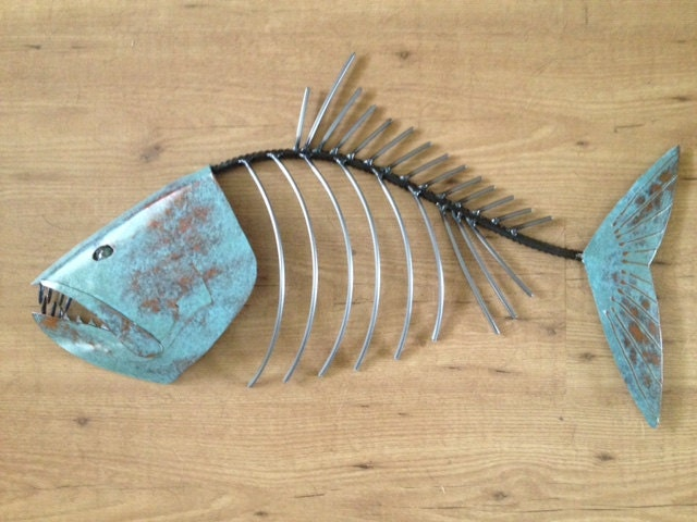 Fish Sculpture 24in long Tropical Coastal Beach Metal Wall Art Fish