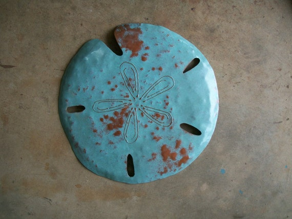 Sand Dollar Metal Sculpture 16in Beach Coastal Tropical Art