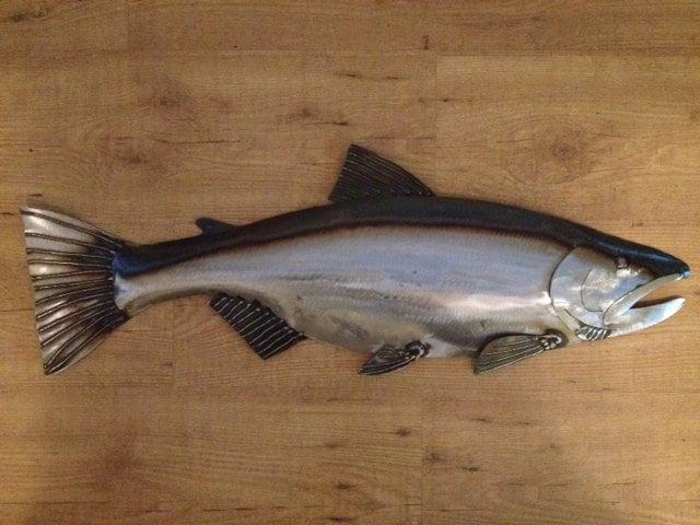 Salmon 30in Metal Fish Wall Art Sculpture Lodge Cottage Cabin Lake River