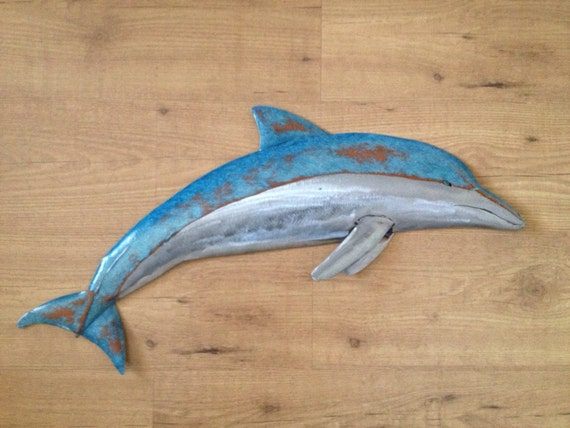 Dolphin 30in Metal  Wall sculpture  SHIPPING FREE in the US