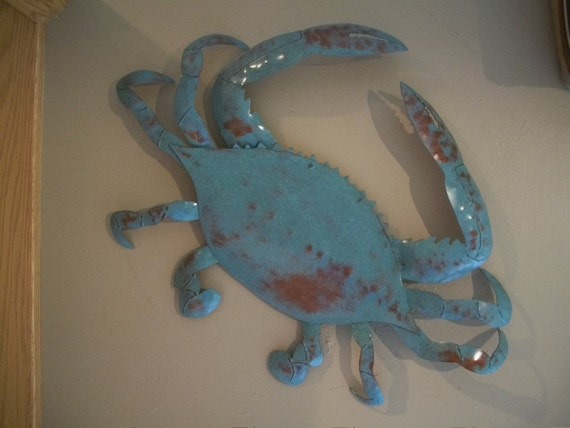 Blue Crab Metal Wall Sculpture  SHIPPING FREE in the US
