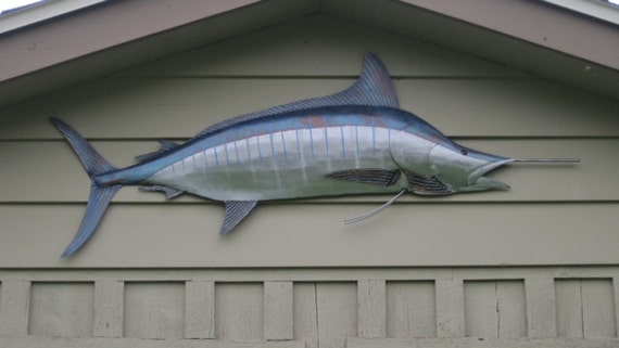 Striped Marlin Metal Fish 68in Wall sculpture  Beach Coastal Tropical Art