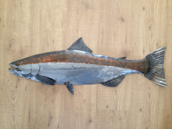 Coho Salmon 35in Handmade Fish Wall Art Sculpture  FREE Shipping in the US