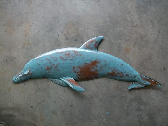 Dolphin Metal 36in  Wall sculpture Tropical Beach Coastal Fish Art ocean