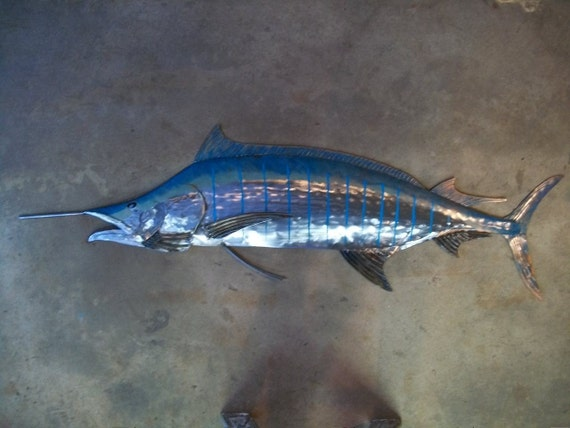Blue Marlin 68in Metal Fish Wall Art FREE SHIPPING in the US