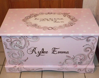 270e218d204 Custom Hope Chest or toy box with a verse of your choice on lid and inside  and personalized with name.