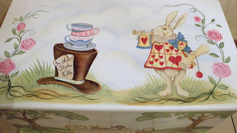 kids furniture wooden toy chest Custom personalized tea party toy box inspired by Alice in Wonderland