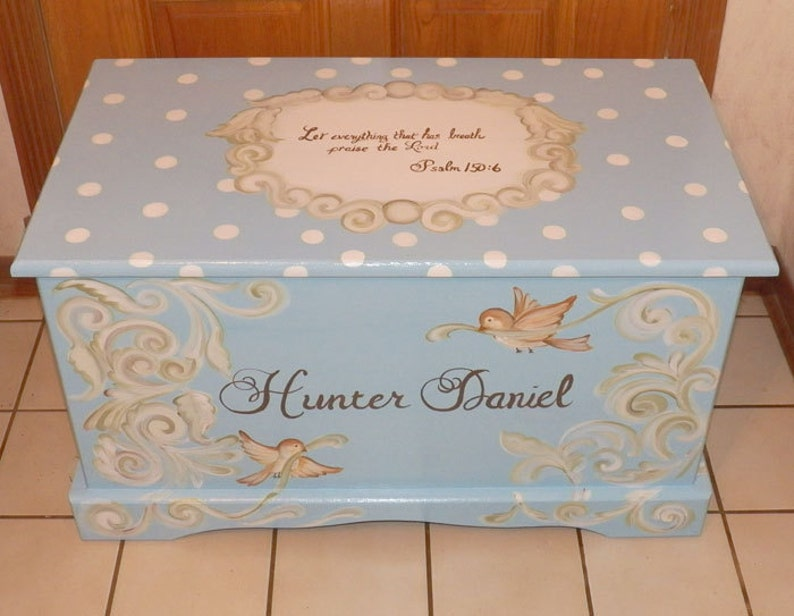 Custom Hope Chest or toy box  with a verse of your choice on lid and inside and personalized with name.