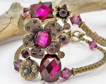 Bronze and Purple Rhinestone Bracelet, Beaded Bracelet, Cuff Bracelet, Purple Crystal Bracelet, High Fashion Jewelry, Double Strand Bracelet