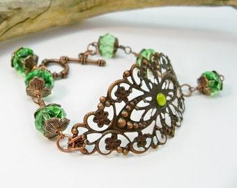 Green Crystal Bracelet, Copper Cuff Bracelet, Copper Filigree Bracelet