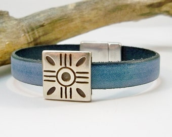 Women's Leather Sun Bracelet, Minimalist  Bracelet, Vintage Denim Leather Bracelet, Silver and Leather, Gift for Her