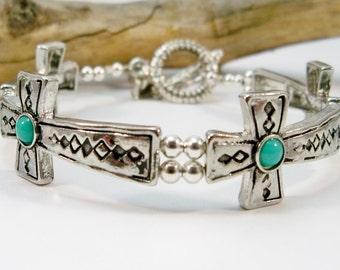 Silver Cross Bracelet, Sideways Cross Bracelet, Turquoise and Silver Bracelet, Gifts for Her, Cuff Bracelet, Southwestern Bracelet