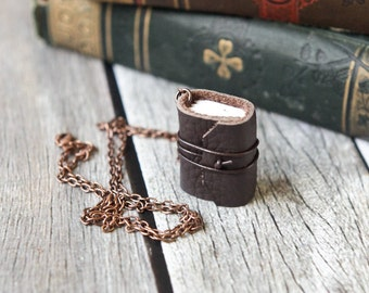 Brown Leather Journal Necklace - Mini Book Jewelry