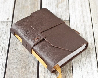 Brown Leather Journal with Yellow Ribbon Bookmark