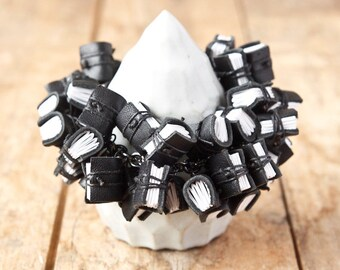 Mini Leather Journal Bracelet - Statement Jewelry - Handmade Mini Book Jewelry