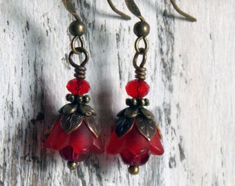 Red Flower Earrings Simple Dangle Tiny Red Tulip Flower Earrings Boho Earrings Small Earrings Jewelry