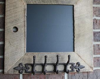 Relaimed Oak Barn Wood Chalkboard with a 4 Double Hooks