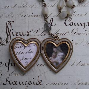 Antique Locket Necklace Antique Assemblage Necklace Jeanne d/'Arc Vintage Assemblage Necklage Saint Necklace Joan of Arc Locket Necklace