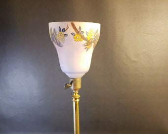 Antique Brass Table Lamp With Reverse Painted Glass Shade Flowers Butterflies