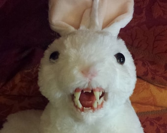 """The Beastie of Caerbannog! 10"""" long White with Pink Ears Quality Plush Fanged Bunny"""