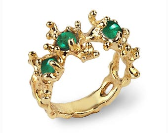 Coral Emerald Rings